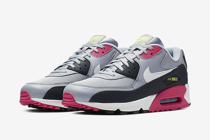 Nike Air Max 90 Pink Grey Volt Aj1285 020 Side Pair2
