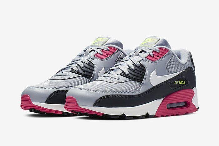 Nike Air Max 90 Pink Grey Volt Aj1285 020 Side Pair2