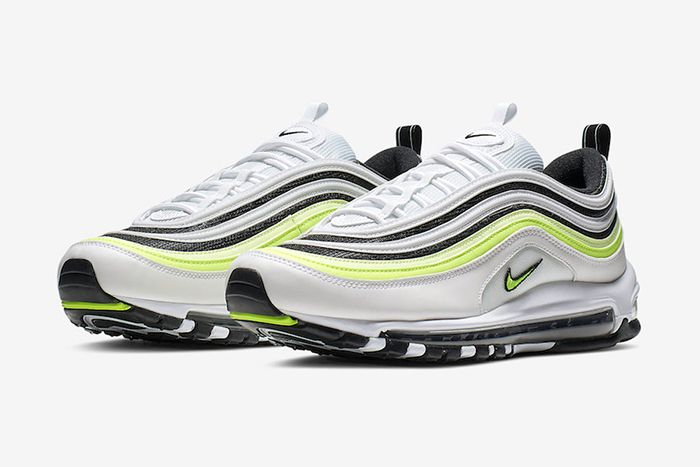 Nike Air Max 97 White Black Volt Reflective Release Date Pair