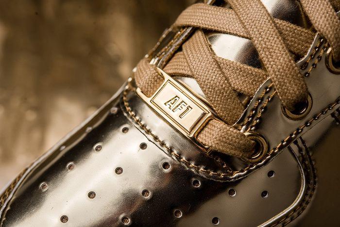 Nike Air Force 1 Liquid Metal Gold Dubrae Close Up