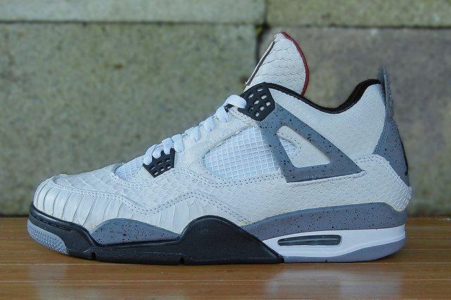 Jbf Customs Air Jordan 4 White Python Cement Close