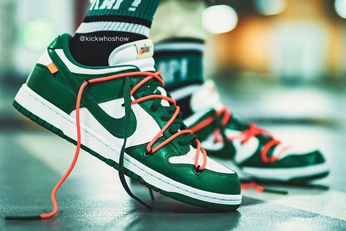 Off White Nike Dunk Low Pine Green Ct0856 100 On Foot Shot8