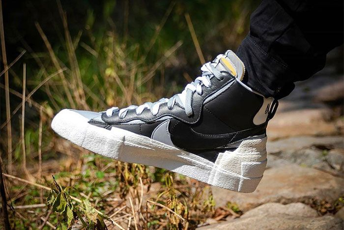 Nike Sacai Blazer Mid Grey Black Left 2