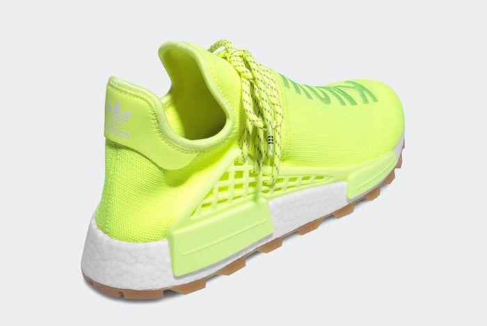 Pharell Adidas Hu Nmd Solar Yellow Heel Angle
