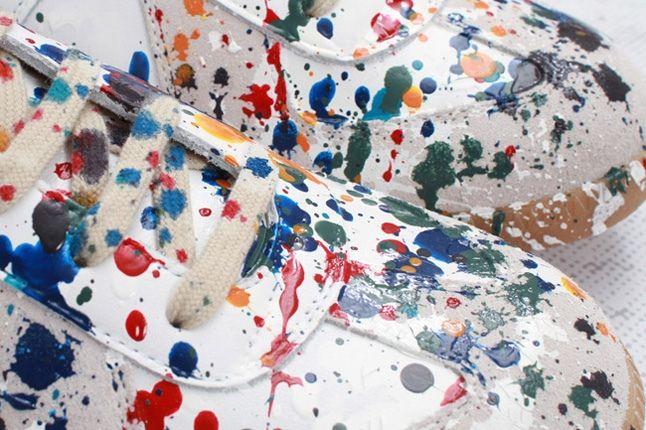 Maison Martin Margiela Lowtop Paint Splatter Toe Detail 1