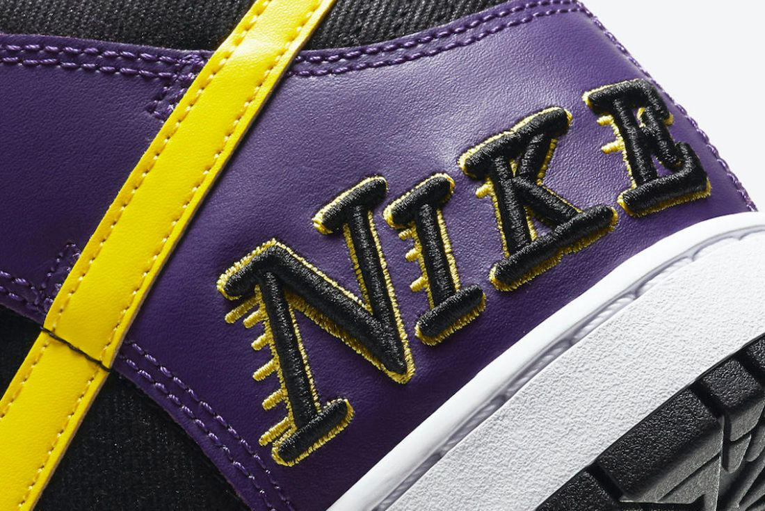 Nike Dunk High EMB 'Lakers' official shots