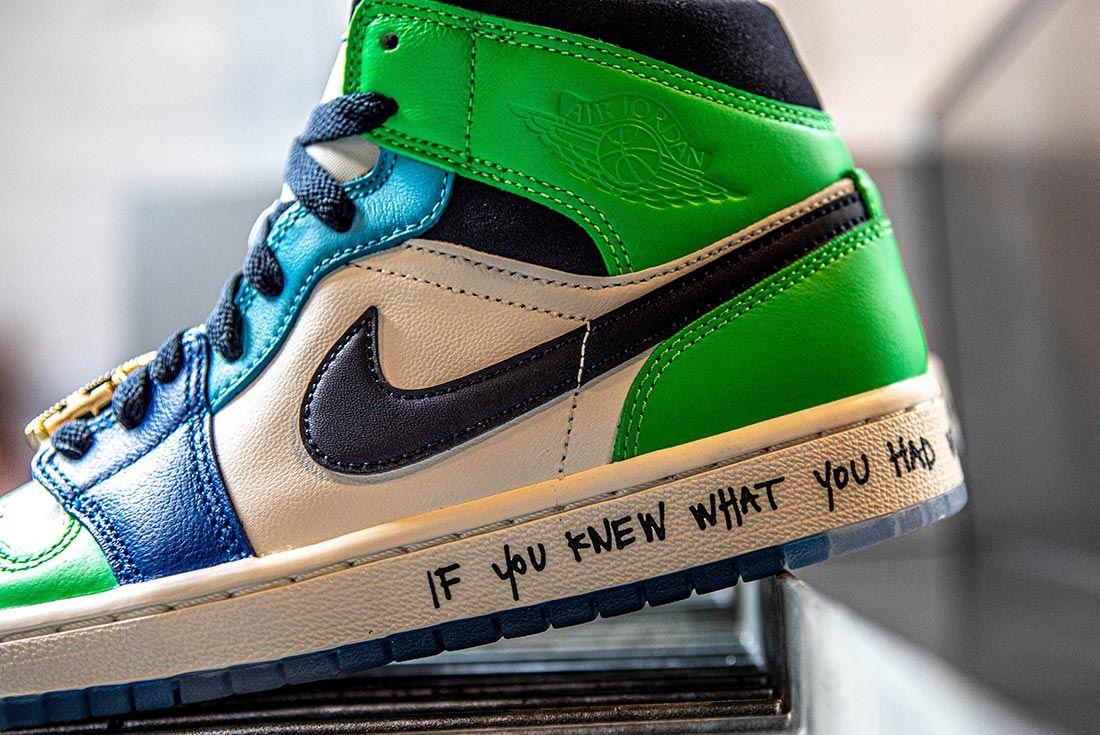 Melody Ehsani Air Jordan 1 Mid Fearless Green Heel Detail