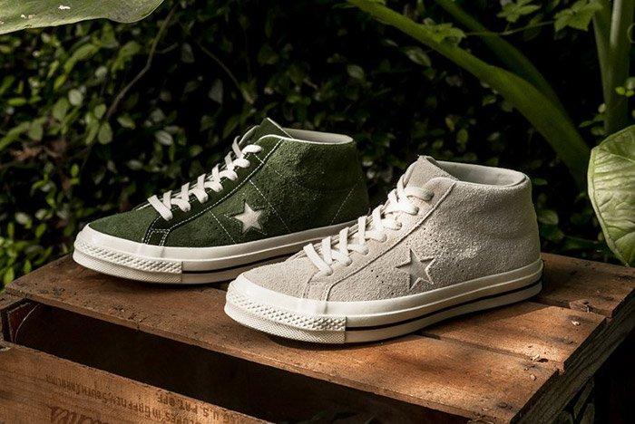 Converse One Star Mid Egret Shadow Green 1