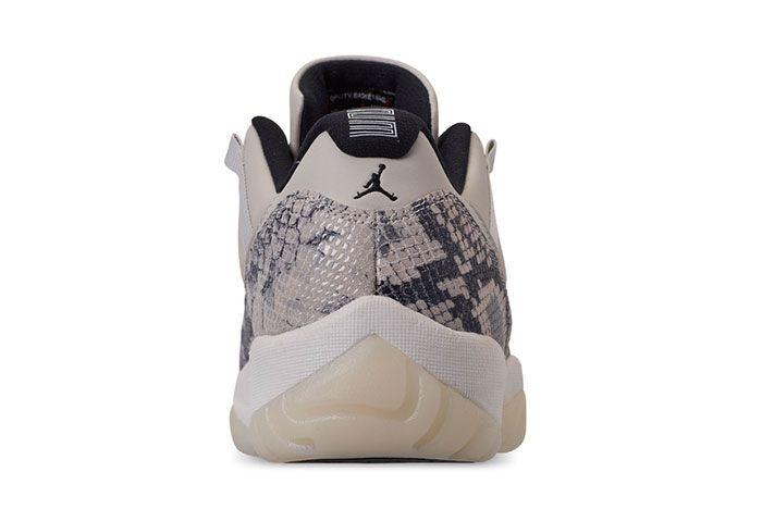 Air Jordan 11 Low Snakeskin Light Bone Heel