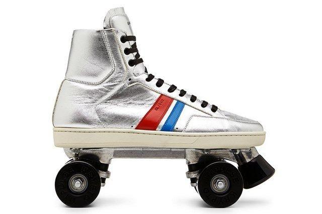 Saint Laurent Classic Court Silver Roller Skates