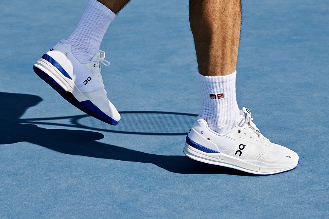 on the roger signature tennis shoe