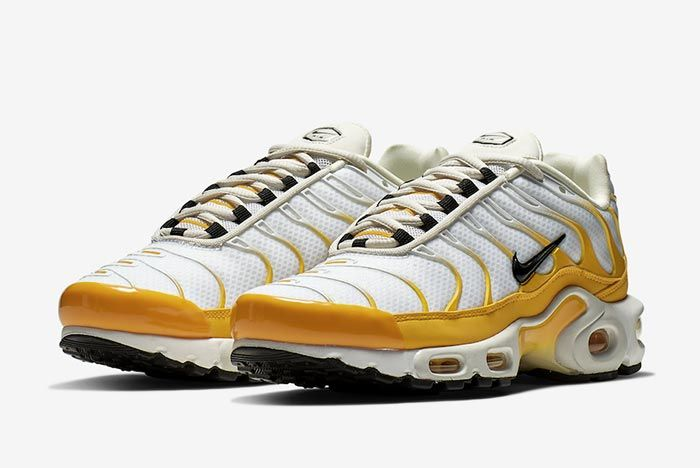 Nike Air Max Plus White Yellow Front Angle Shot 1