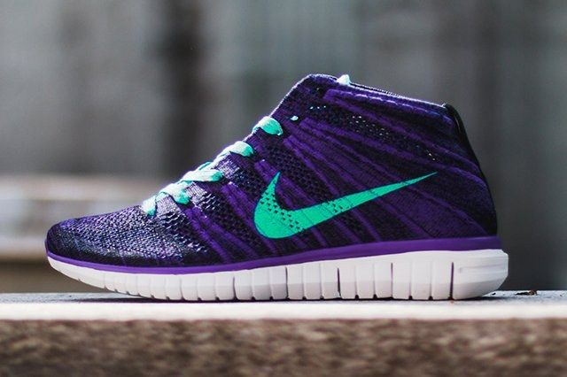 Nike Wmns Free Flyknit Chukka Court Purple Hyper Jade 6