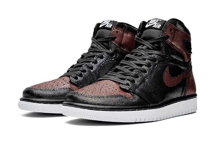 Air Jordan 1 Hi Og Wmns Fearless Black Metallic Rose Gold Cu6690 006 Release Date Pair