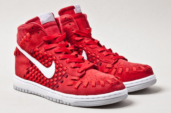 Nike Dunk Woven Checkerboard Red Pair 1