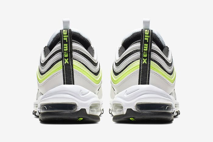 Nike Air Max 97 White Black Volt Reflective Release Date Heel