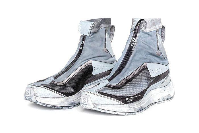 11 By Boris Bidjan Saberi X Salomon Spring Summer 2020 Footwear Blue High Lateral Three Quarter Angled Side Shot