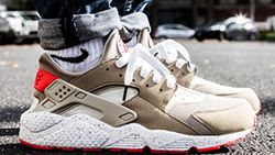 Nike Air Huarache Light Beige Laser Crimson Sneaker Freaker
