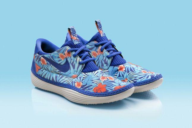 Nike Solarsoft Moccassin Hawaii Floral Purple Blue Hero