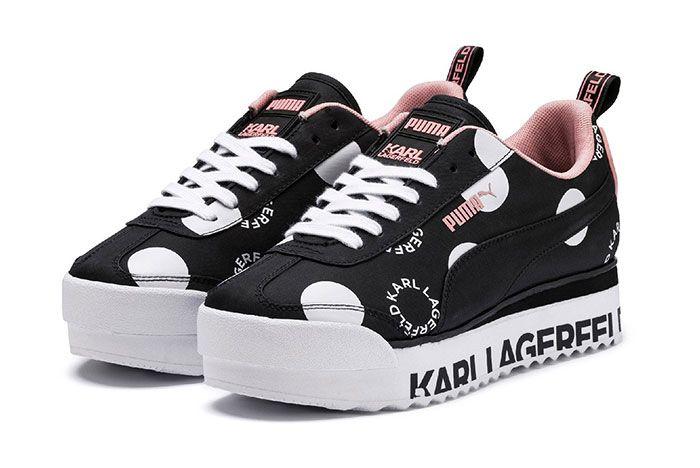 Karl Lagerfeld Puma Roma Pink Three Quarter Angle Shot