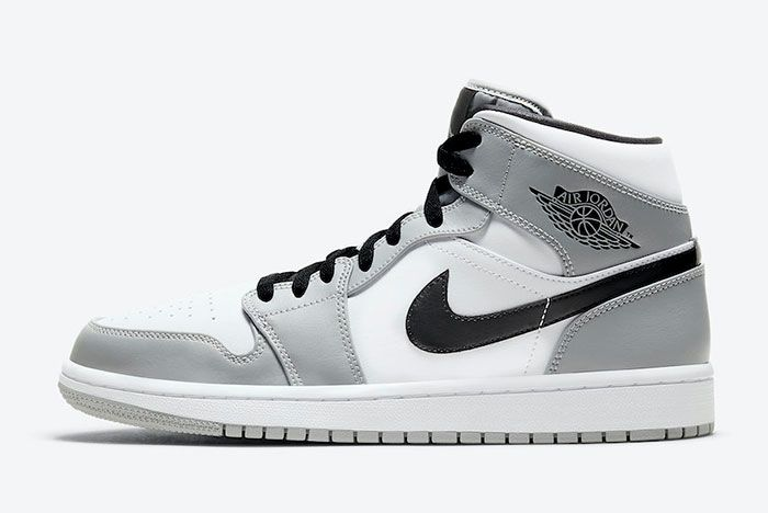 Air Jordan 1 Mid Light Smoke Grey 554724 092 Lateral White