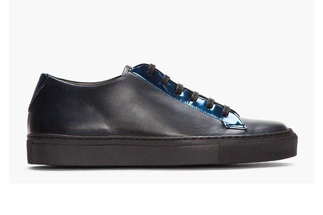 Raf Simons Blk Lthr Rflctive Silver Low Tops Profile 1