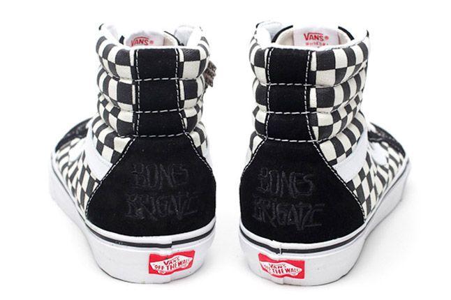 Retro Vans Sk8 Hi Bones Brigade Blackwhite Check Pair Heels 1