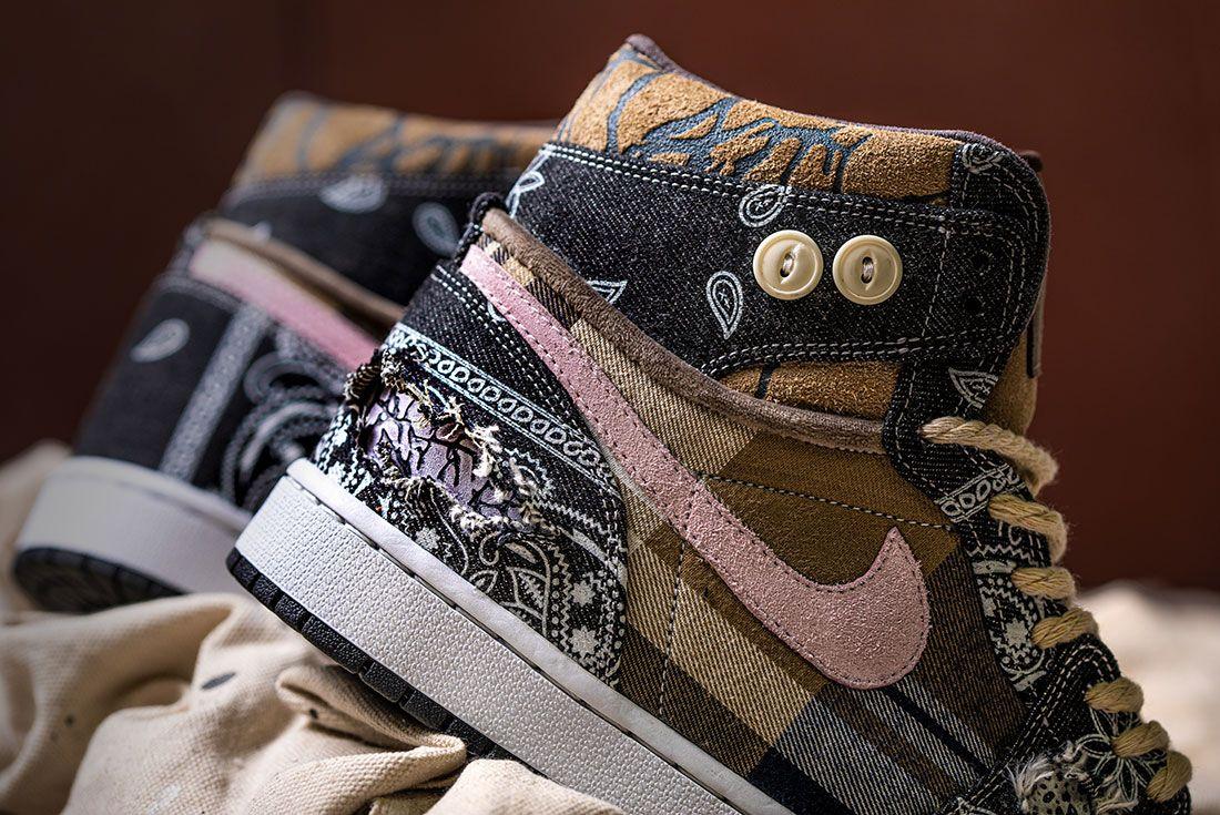 Bespokeind Travis Scott Air Jordan 1 Custom Bandana Sneaker Freaker Hero Shot1