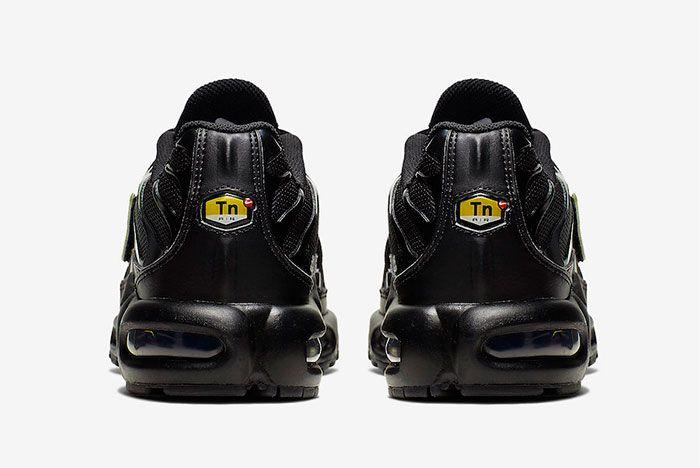 Nike Air Max Plus Black Metallic Gold Cj9696 001 Heel Shot