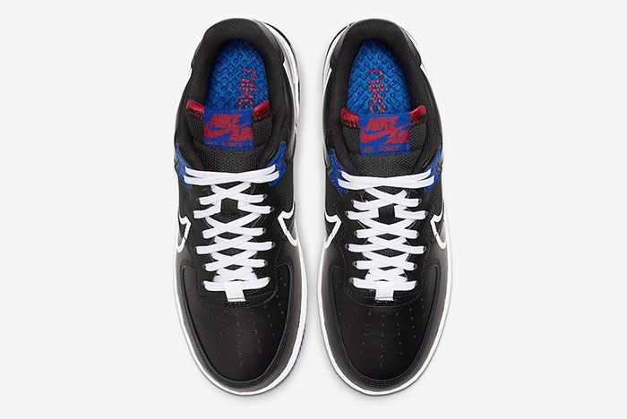 Nike Air Force 1 React Black Gym Red Gym Blue Ct1020 001 Top