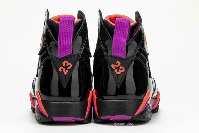 Air Jordan 7 Womens Black Orange Pink Heel