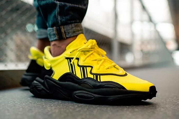Adidas Ozweego Solar Yellow Eg7449 On Foot Front Angle