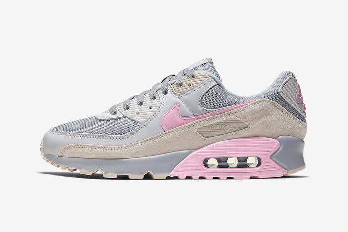 Nike Air Max 90 Grey Grey Pink Lateral
