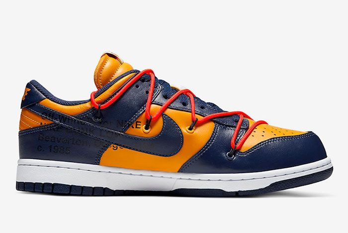 Off White Nike Dunk Low Gold Navy Ct0856 700 Medial