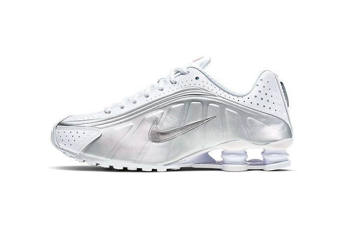 Nike Shox R4 White Metallic Silver Bright Crimson Metallic Silver Side Shot 1