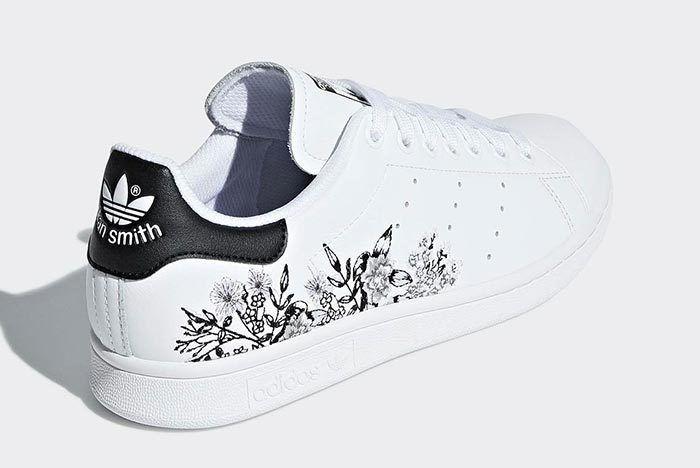 Adidas Stan Smith Floral Black White 3