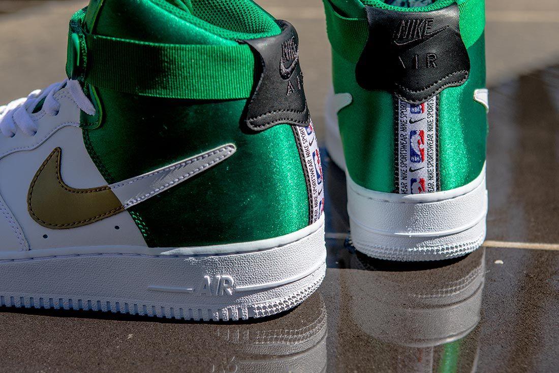 Nike Nba Air Force 1 High Green White Gold Detail