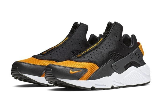 Nike Air Huarache Run Ext Zip Black Gold Ci0009 001 Three Quarter Angle Shot