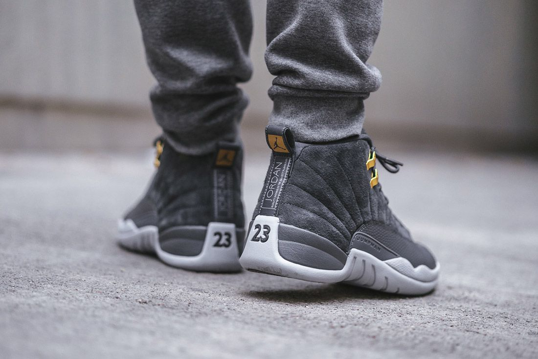 On Foot Air Jordan 12 Dark Grey2