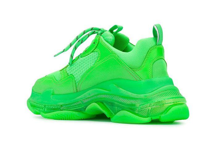 Balenciaga Triple S Green 3 Heel Angle