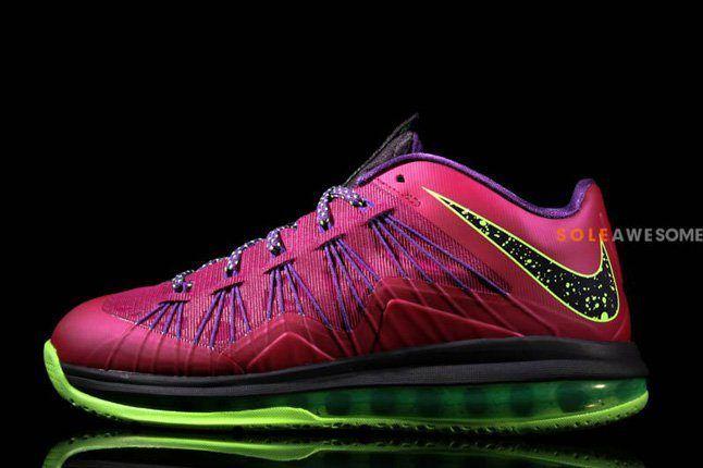 Nike Lebron X Low Pnkpurp Neongrn Tongue Profile 1