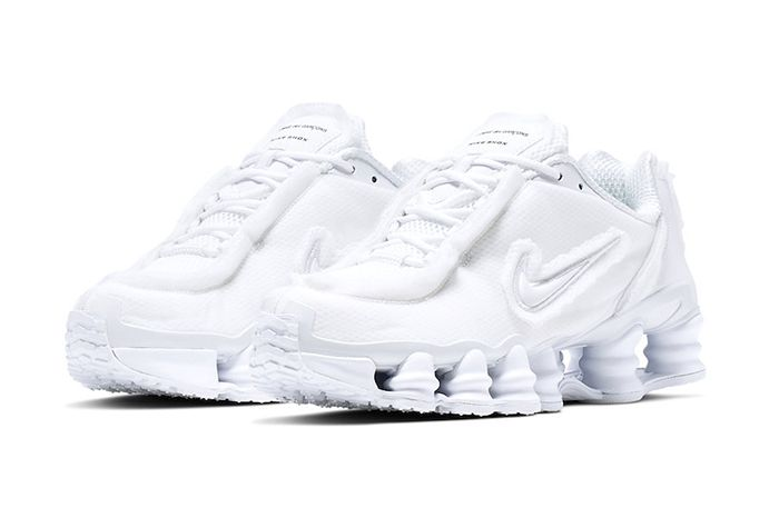Comme Des Garcons Nike Shox Tl White Cj0546 100 Release Date Pair