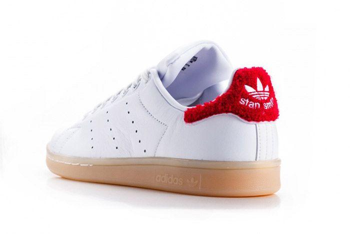 Adidas Stan Smith Fuzzy Heel White Red Womens 1