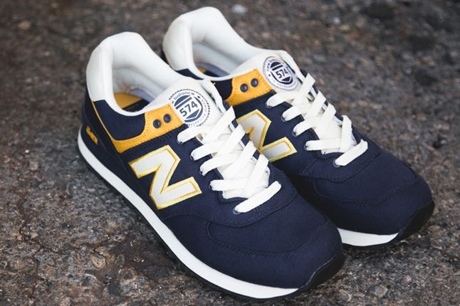 New Balance 574 Rugby Pack Yellow Navy Angle 1