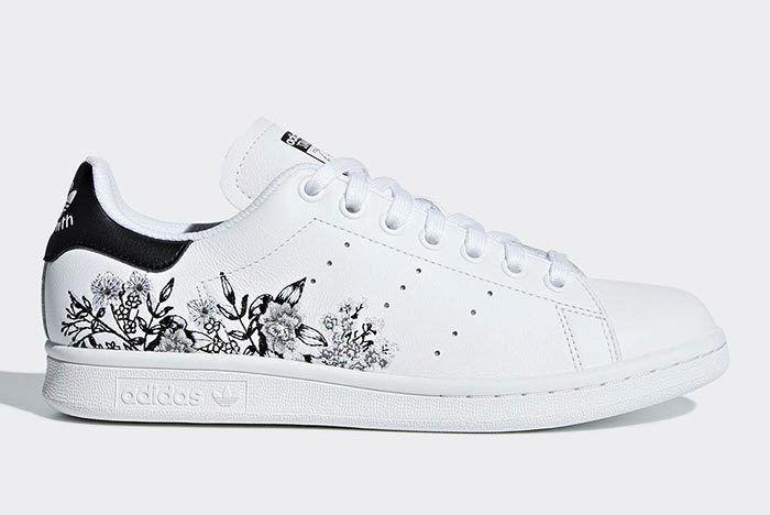 Adidas Stan Smith Floral Black White 1