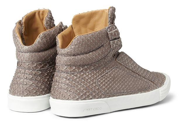 Jimmy Choo Snakeskin Leather High Top Sneaker Heels 1