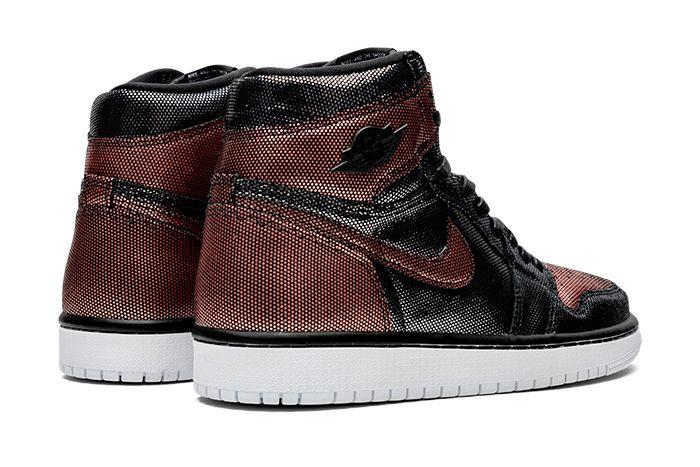 Air Jordan 1 Hi Og Wmns Fearless Black Metallic Rose Gold Cu6690 006 Release Date Heel