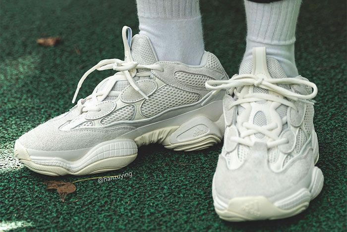 Adidas Yeezy Boost 500 Bone White On Foot Toe