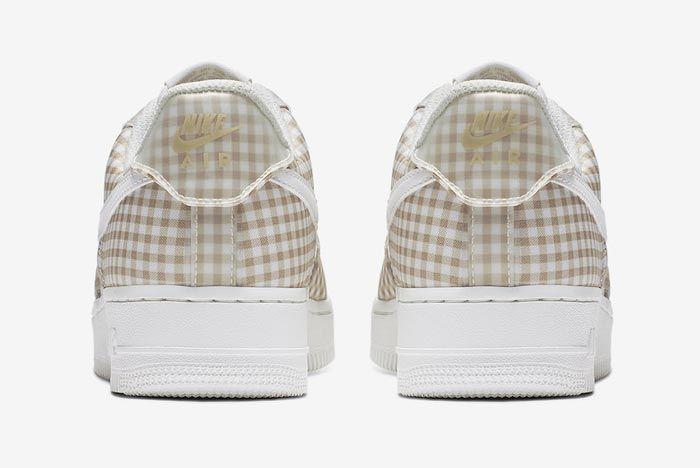 Nike Air Force 1 Gingham Pack Beige Heels