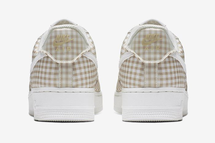 Nike Air Force 1 Gingham Pack Beige Heels